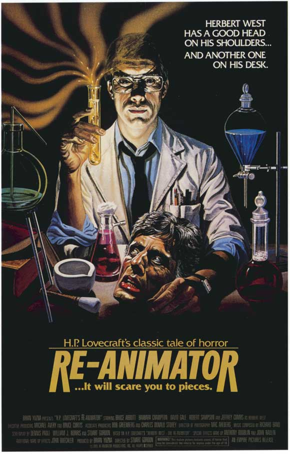 re animator movie poster 1985 1020200561 - Tribute to horror genius H.P. Lovecraft on his 123rd birthday