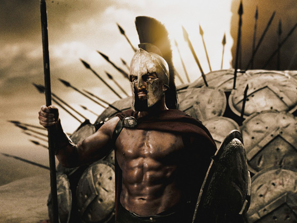 """GERARD BUTLER portray Leonidas, the king of Sparta who, along with 300 soldiers, battles to prevent the Persian army from invading all of Greece in Warner Bros. Pictures', Legendary Pictures' and Virtual Studios' action drama """"300,"""" distributed by Warner Bros. Pictures."""