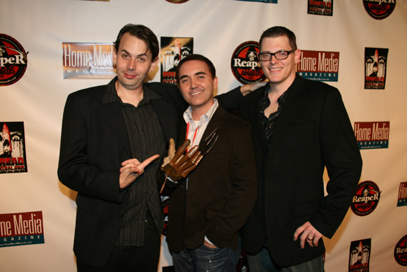 (L to R): Producers Andrew Kasch, Dan Farrands and Thommy Hutson win Best of Show award for their film Never Sleep Again at the 2010 Reaper Awards on Tuesday night at The Roosevelt Hotel presented by Home Media Magazine and DreadCentral.com Photo Credit: Adam Carrillo