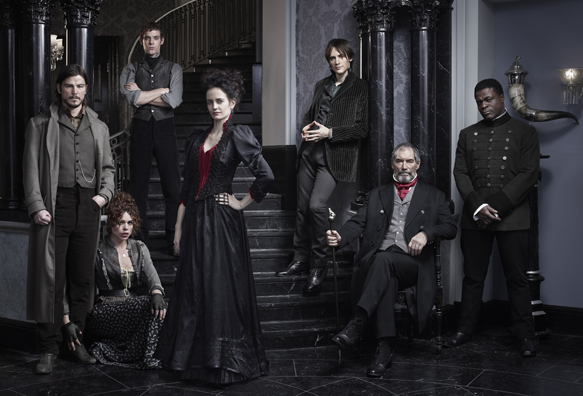 Josh Hartnett as Ethan Chandler, Billie Piper as Brona Croft, Harry Treadaway as Dr. Victor Frankenstein, Eva Green as Vanessa Ives, Reeve Carney as Dorian Gray, Timothy Dalton as Sir Malcolm and Danny Sapani as Sembene. PHOTO- Jim Fiscus/SHOWTIME