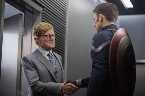 """Marvel's Captain America: The Winter Soldier"" L to R: Alexander Pierce (Robert Redford) & Captain America/Steve Rogers (Chris Evans) Ph: Zade Rosenthal © 2014 Marvel.  All Rights Reserved."