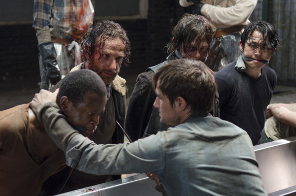 Lawrence Gilliard Jr. as Bob Stookey, Andrew Lincoln as Rick Grimes, Norman Reedus as Daryl Dixon, Steven Yeun as Glenn Rhee and Andrew J. West as Gareth - The Walking Dead _ Season 5, Episode 1 - Photo Credit: Gene Page/AMC