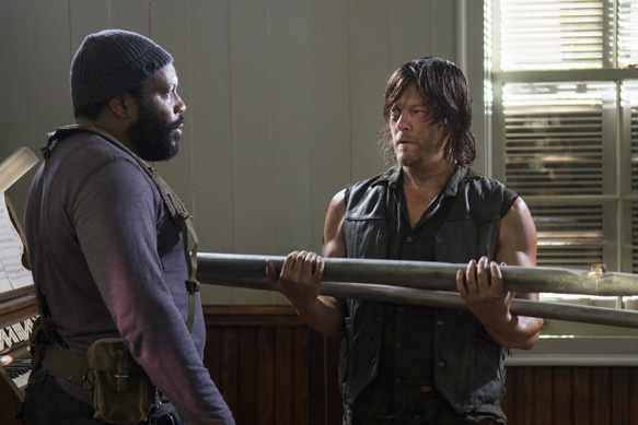 Chad Coleman as Tyreese and Norman Reedus as Daryl Dixon - The Walking Dead _ Season 5, Episode 7 - Photo Credit: Gene Page/AMC