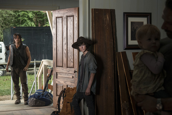 Norman Reedus as Daryl Dixon and Chandler Riggs as Carl Grimes - The Walking Dead _ Season 5, Episode 7 - Photo Credit: Gene Page/AMC