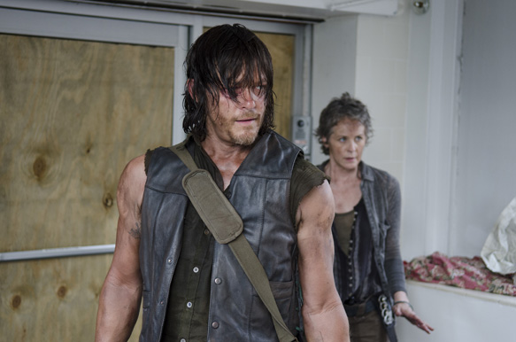 Norman Reedus as Daryl Dixon and Melissa McBride as Carol Peletier - The Walking Dead _ Season 5, Episode 6 - Photo Credit: Gene Page/AMC