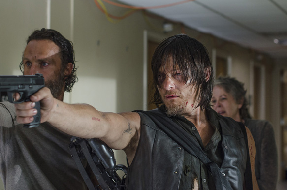 Andrew Lincoln as Rick Grimes, Norman Reedus as Daryl Dixon and Melissa McBride as Carol Peletier - The Walking Dead _ Season 5, Episode 8 - Photo Credit: Gene Page/AMC