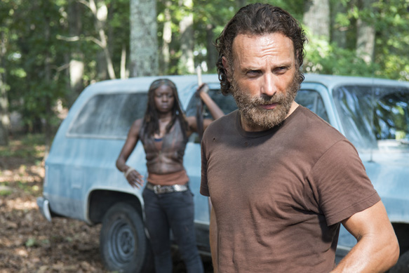 Andrew Lincoln as Rick Grimes and Danai Gurira as Michonne - The Walking Dead _ Season 5, Episode 9 - Photo Credit: Gene Page/AMC
