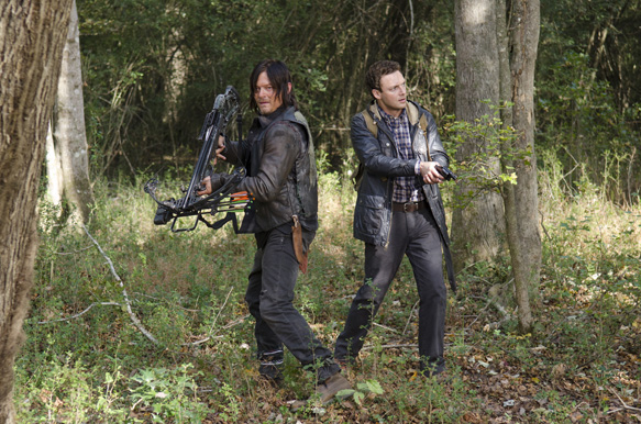 Norman Reedus as Daryl Dixon and Ross Marquand as Aaron - The Walking Dead _ Season 5, Episode 15 - Photo Credit: Gene Page/AMC