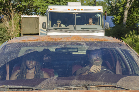 Danai Gurira as Michonne, Chandler Riggs as Carl Grimes and Andrew Lincoln as Rick Grimes - The Walking Dead _ Season 5, Episode 11 - Photo Credit: Gene Page/AMC