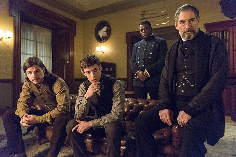 Josh Hartnett as Ethan Chandler, Harry Treadaway as Dr. Victor Frankenstein, Danny Sapani as Sembene and Timothy Dalton as Sir Malcolm in Penny Dreadful (season 2, episode 4). - Photo: Jonathan Hession/SHOWTIME