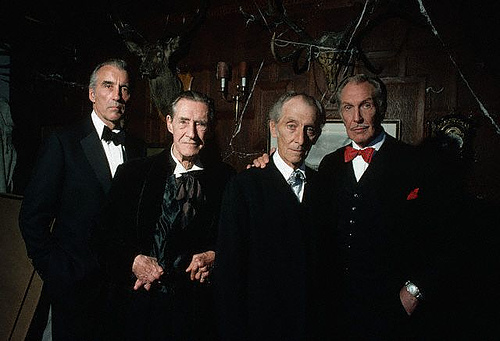 L to R: Christopher Lee, John Carradine, Peter Cushing, Vincent Price in House of the Long Shadows