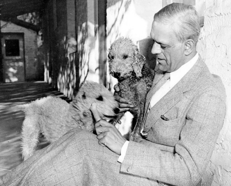 Boris Karloff with his Bedlington Terriers