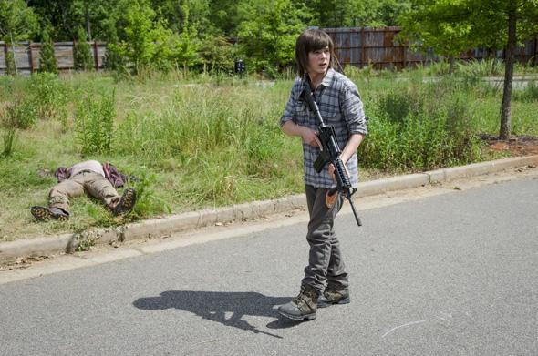 Chandler Riggs as Carl Grimes - The Walking Dead _ Season 6, Episode 2 - Photo Credit: Gene Page/AMC