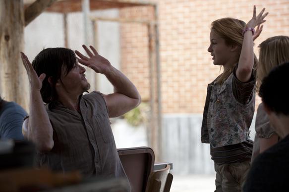 Daryl Dixon (Norman Reedus) and Lizzie (Brighton Sharbino) - The Walking Dead _ Season 4, Episode 2 _ BTS - Photo Credit: Gene Page/AMC