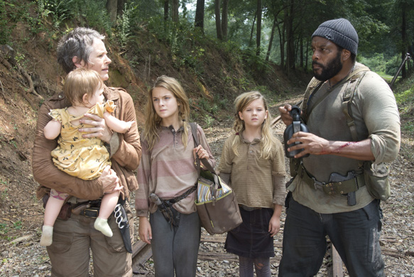 Carol (Melissa Suzanne McBride), Penny (Kylie Szymanski), Lizzie (Brighton Sharbino) and Tyreese (Chad Coleman) - The Walking Dead _ Season 4, Episode 10 - Photo Credit: Gene Page/AMC