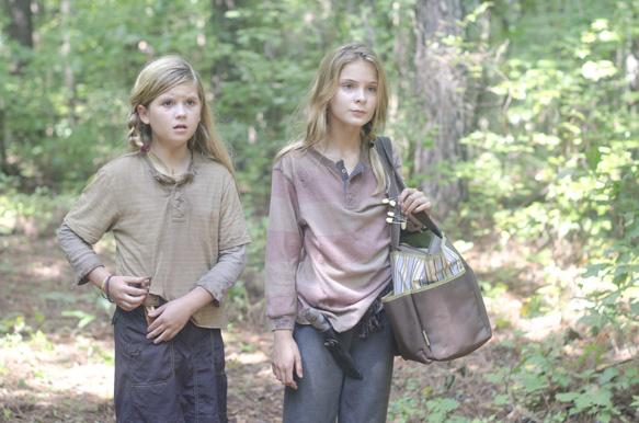 Lizzie (Brighton Sharbino) and Penny (Kylie Szymanski) - The Walking Dead _ Season 4, Episode 10 - Photo Credit: Gene Page/AMC
