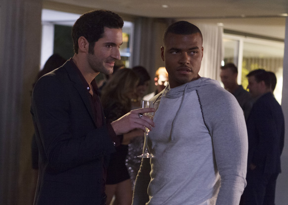 LUCIFER: L-R: Tom Ellis and guest star Redaric Williams in the ÒThe Would-Be Prince of DarknessÓ episode of LUCIFER airing Monday, Feb. 8 (9:00-10:00 PM ET/PT) on FOX. ©2016 Fox Broadcasting Co. CR: FOX
