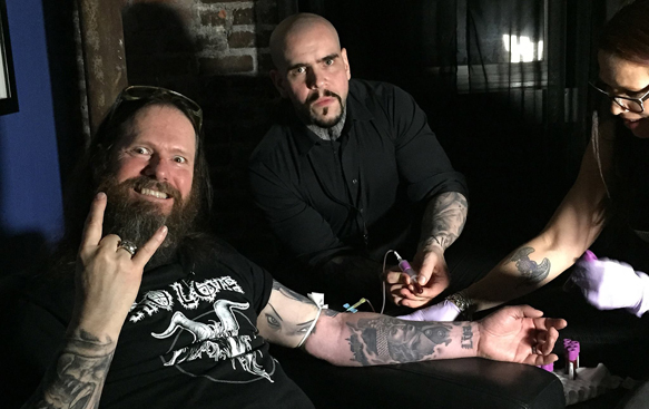 Vincent Castiglia withdrawing blood from Gary Holt