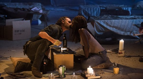 Andrew Lincoln as Rick Grimes, Danai Gurira as Michonne - The Walking Dead _ Season 7, Episode 12 - Photo Credit: Gene Page/AMC
